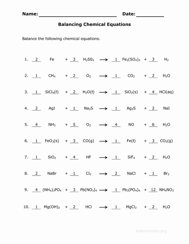 Balancing Equation Worksheet with Answers Inspirational Balancing Chemical Equations Practice Worksheet by Vicki