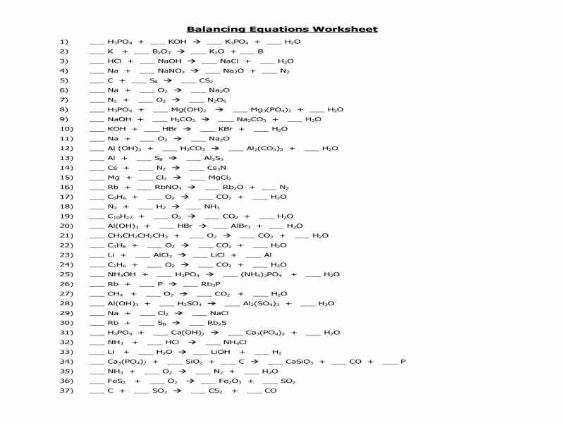 Balancing Equation Worksheet with Answers Lovely Balancing Equations Practice Worksheet Answers