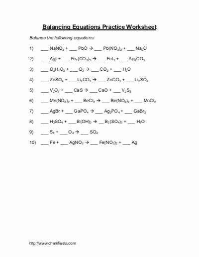 Balancing Equations Practice Worksheet Answers Beautiful Balancing Chemical Equations Practice Worksheet Answer Key
