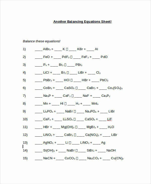 Balancing Equations Practice Worksheet Answers Best Of Balancing Chemical Equations Worksheet