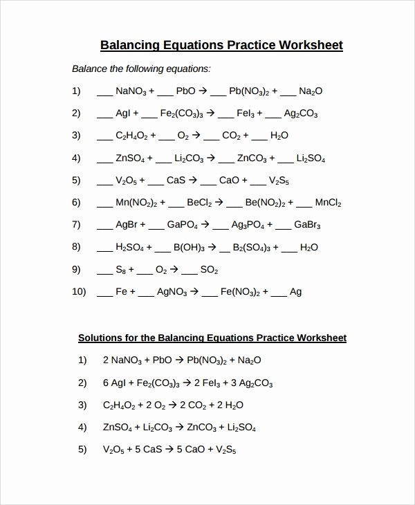 Balancing Equations Practice Worksheet Answers Elegant Sample Balancing Equations Worksheet Templates 9 Free