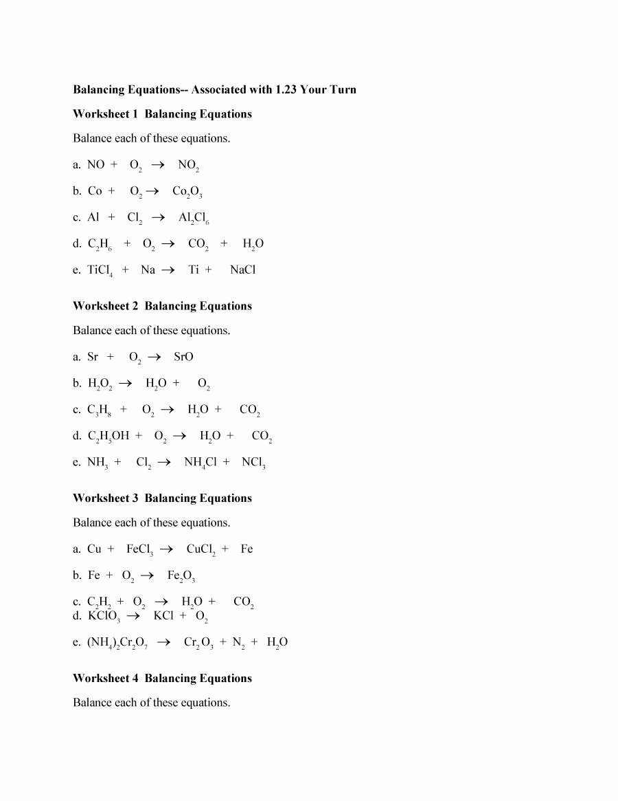 Balancing Equations Practice Worksheet Answers Lovely 49 Balancing Chemical Equations Worksheets [with Answers]