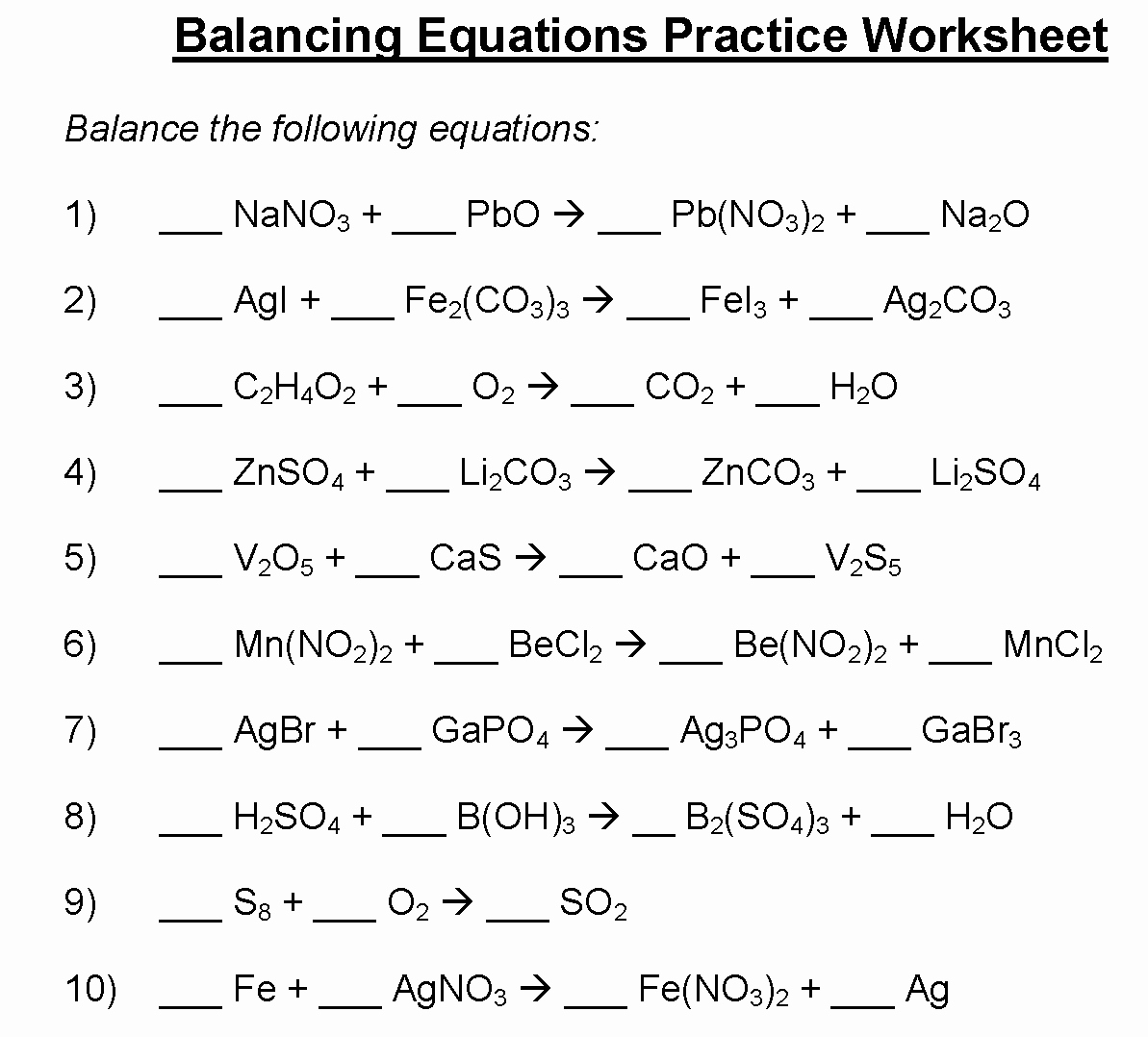 Balancing Equations Practice Worksheet Answers Lovely Download Balancing Equations Worksheet
