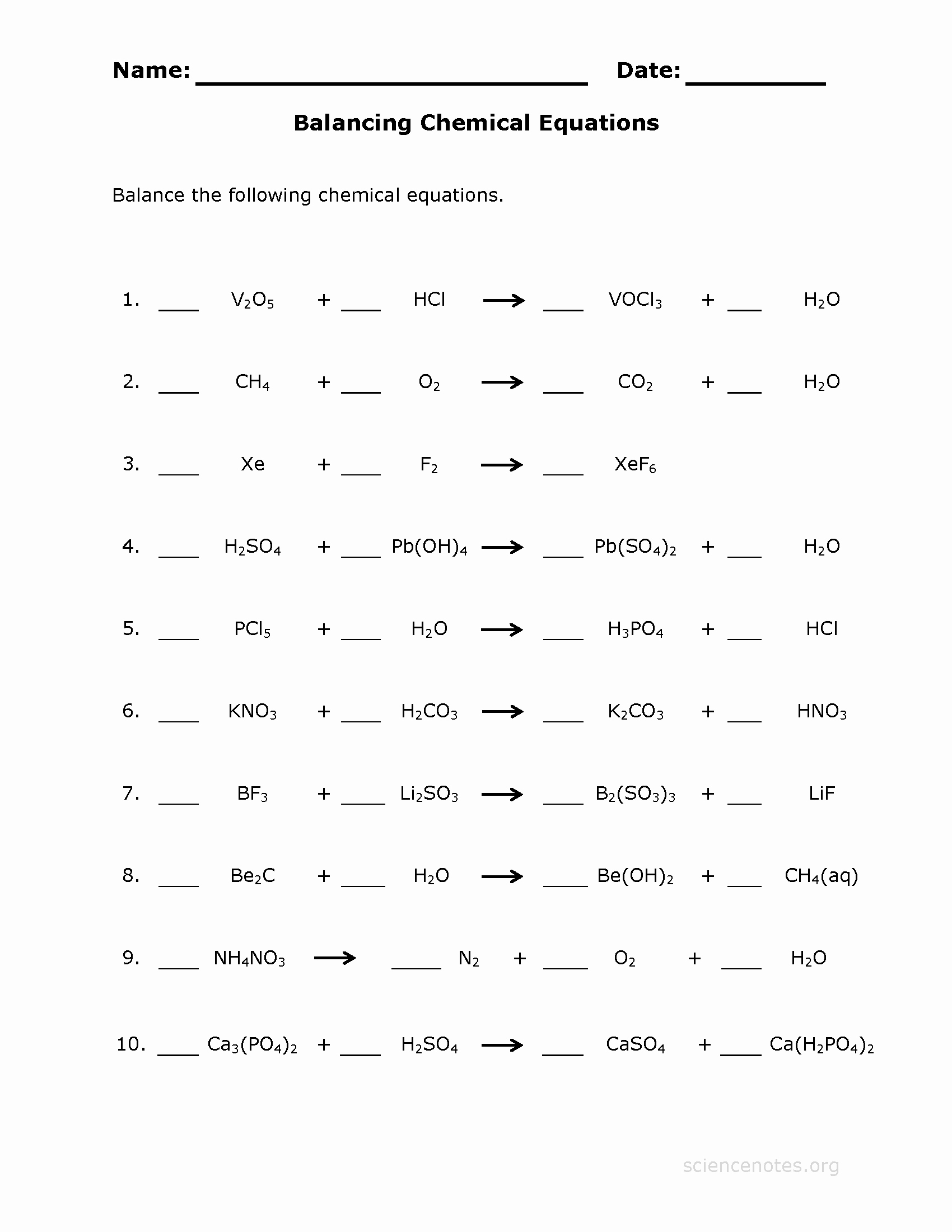 Balancing Equations Worksheet Answers Awesome Balancing Chemical Reactions Archives Science Notes and