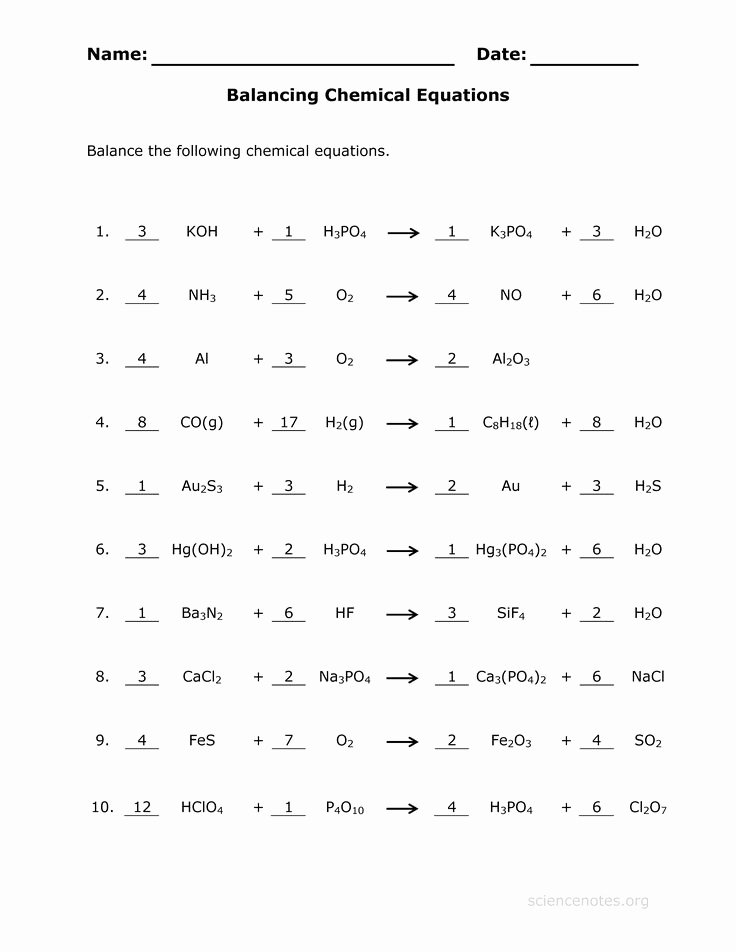 Balancing Equations Worksheet Answers Beautiful Balancing Chemical Equations Worksheet Google Search