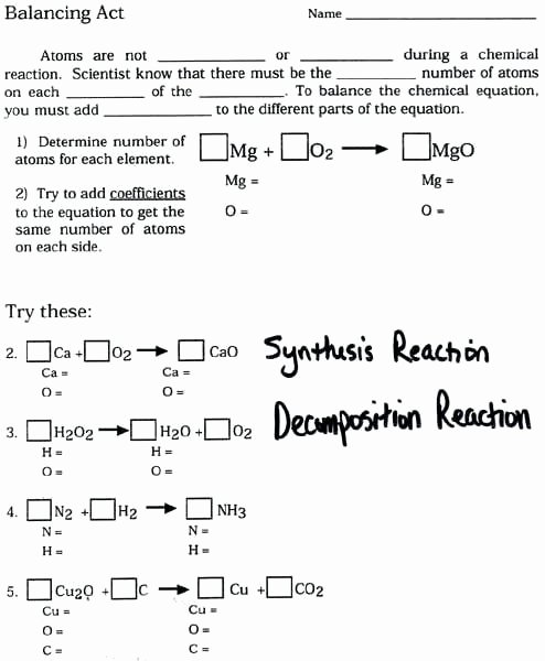 Balancing Equations Worksheet Answers Chemistry Awesome Balancing Chemical Equations Practice Worksheet Answer Key