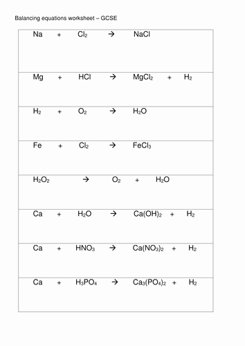 Balancing Equations Worksheet Answers Chemistry Fresh Balancing Equations Gcse by Rs007 Uk Teaching Resources