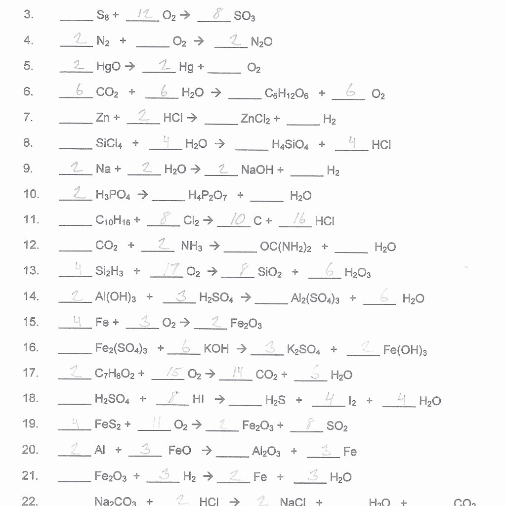 Balancing Equations Worksheet Answers Chemistry Fresh Chemfiesta Balancing Equations Worksheets Answers