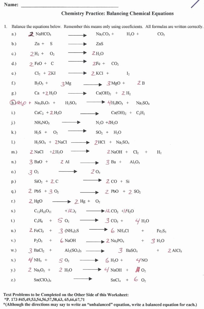 Balancing Equations Worksheet Answers Chemistry New Balancing Chemical Equations Worksheet Answer Key
