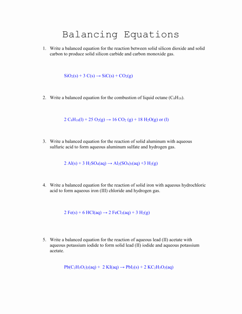 Balancing Equations Worksheet Answers Fresh Balancing Equations Worksheet Answers