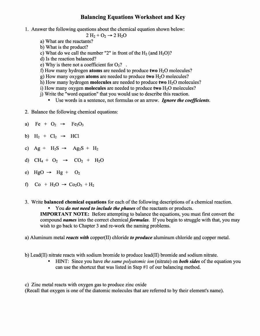 Balancing Equations Worksheet Answers Lovely 49 Balancing Chemical Equations Worksheets [with Answers]