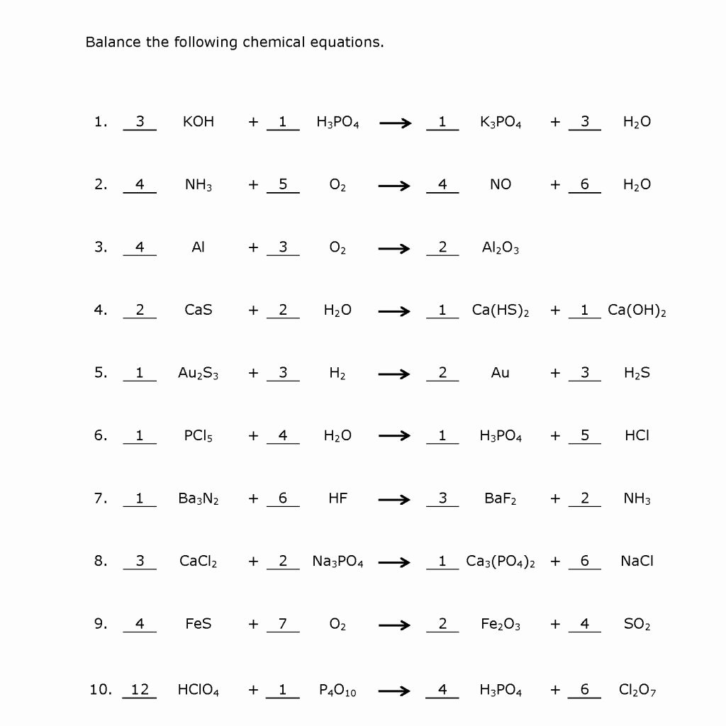 Balancing Equations Worksheet Answers New Balancing Chemical Equations Practice Worksheet with