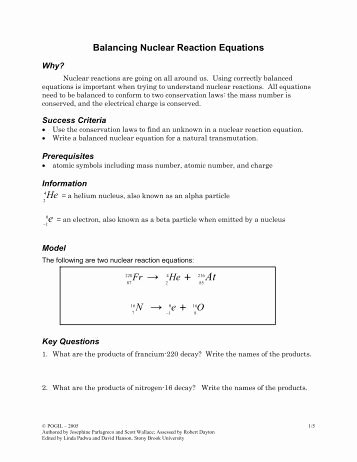 Balancing Nuclear Equations Worksheet Answers Awesome Balancing Equations and Simple Stoichiometry Key