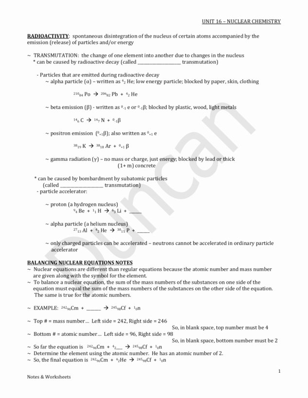 Balancing Nuclear Equations Worksheet Beautiful Balancing Nuclear Equations Worksheet