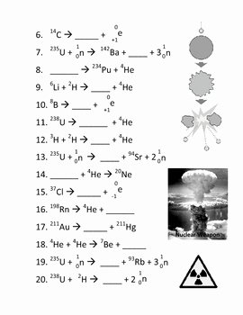 Balancing Nuclear Equations Worksheet Unique Balancing Nuclear Reactions Worksheet by Haney Science