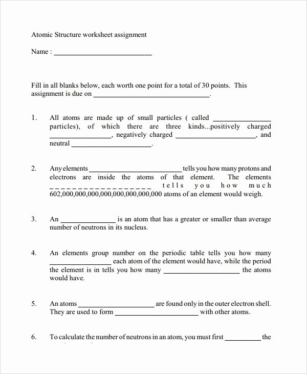 Basic atomic Structure Worksheet Fresh Sample atomic Structure Worksheet 7 Documents In Word Pdf