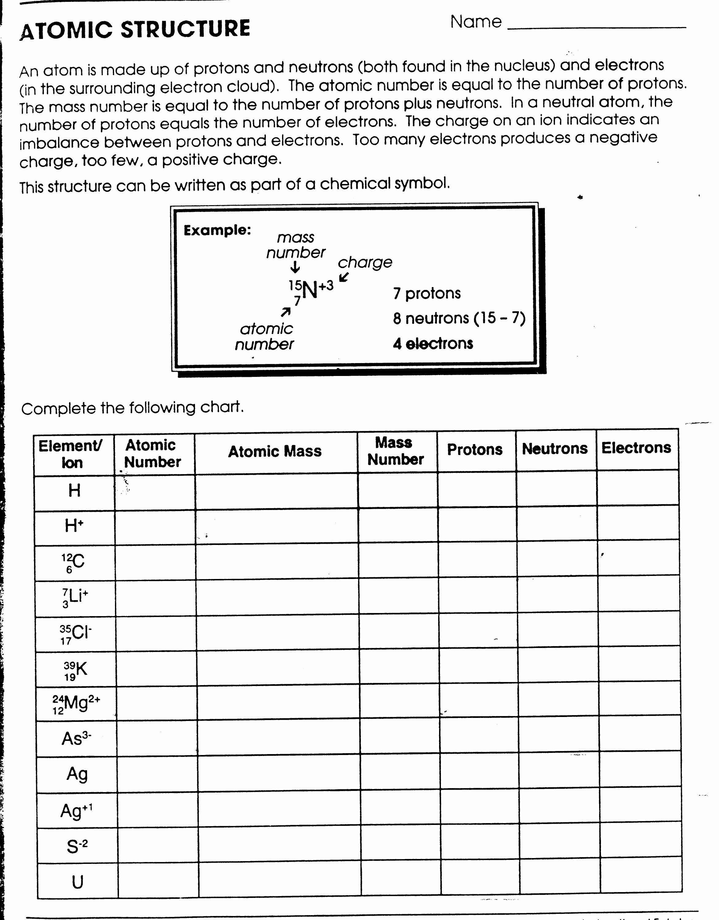 Basic atomic Structure Worksheet Inspirational 12 Best Of atomic Structure Diagram Worksheet