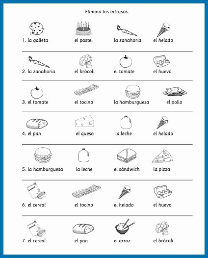 Basic Cooking Terms Worksheet Answers Best Of Spanish Food Vocabulary Printable Activities Spanish