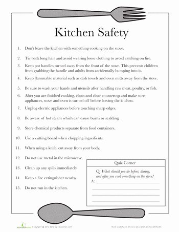 cooking terms worksheet