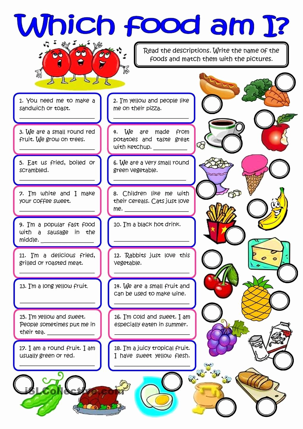 Basic Cooking Terms Worksheet Answers Luxury which Food Am I Vocabulary Practice