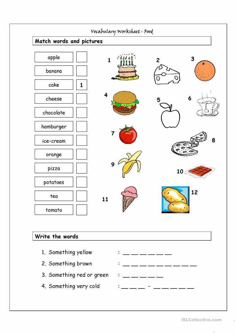 Basic Cooking Terms Worksheet Answers New Vocabulary Matching Worksheet Food Worksheet Free Esl