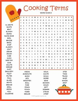Basic Cooking Terms Worksheet Awesome Cooking Terms Word Search Puzzle by Puzzles to Print