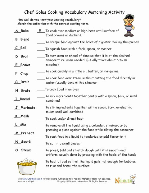 Basic Cooking Terms Worksheet Elegant Cooking Vocabulary Definition Matching Exercise