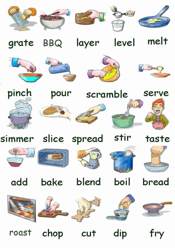 Basic Cooking Terms Worksheet Fresh Preparing Food and Cooking Learning Basic English