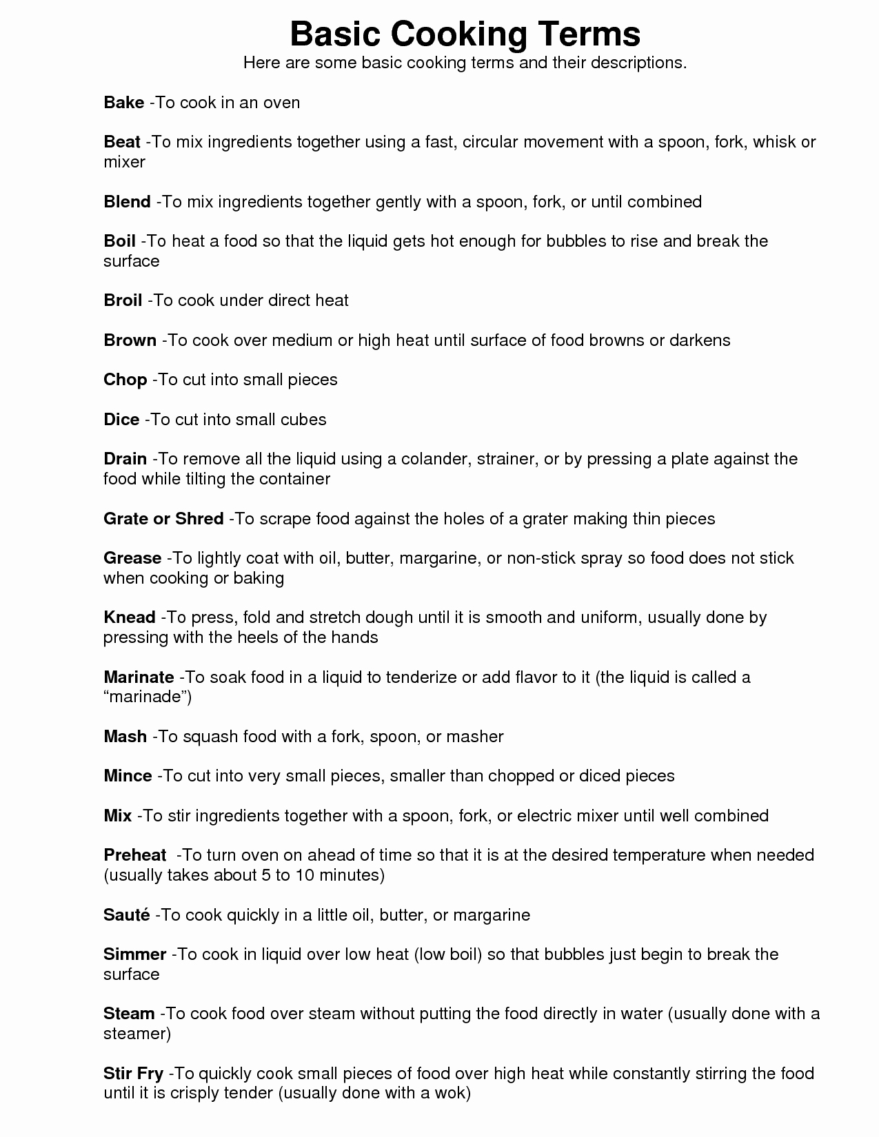 Basic Cooking Terms Worksheet Lovely Basic Safety Worksheet