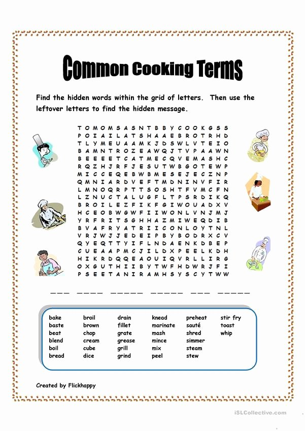 Basic Cooking Terms Worksheet Lovely Mon Cooking Terms Worksheet Free Esl Printable