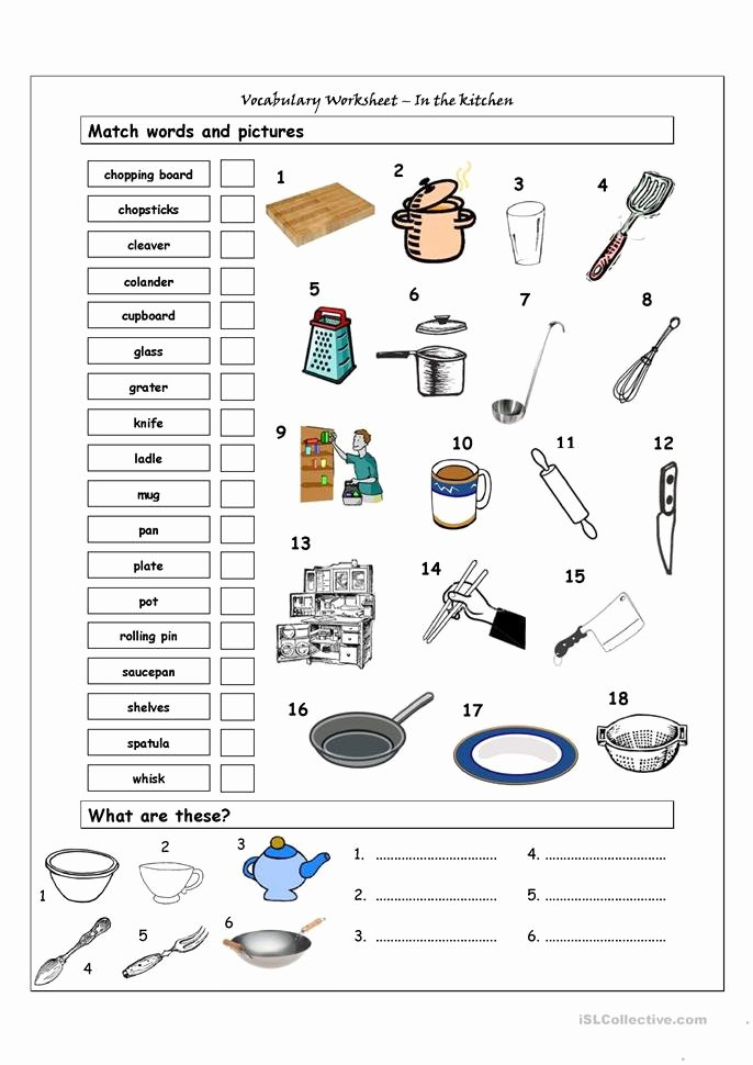 Basic Cooking Terms Worksheet Lovely Vocabulary Matching Worksheet In the Kitchen Worksheet