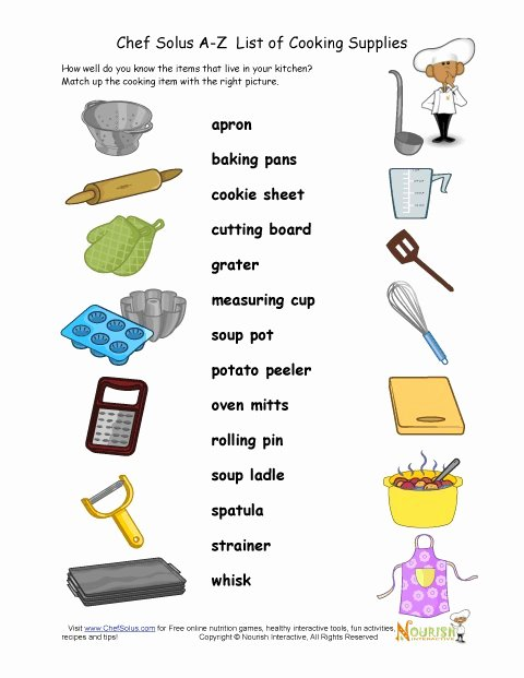Basic Cooking Terms Worksheet New Cooking Utensils Matching Activity Sheet