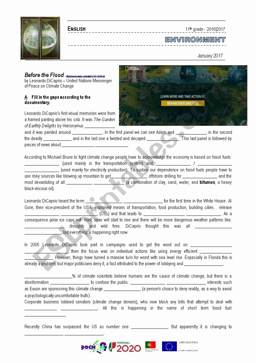 Before the Flood Worksheet Lovely Documentary before the Flood Leonardo Dicaprio Esl
