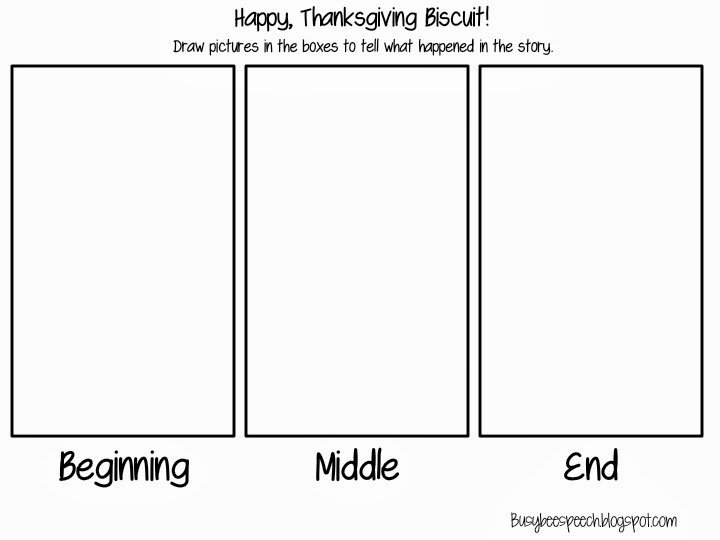 Beginning Middle End Worksheet Awesome Busy Bee Speech Happy Thanksgiving Biscuit Freebie