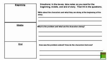 Beginning Middle End Worksheet Luxury Beginning Middle End and Summary Worksheet by Darlene