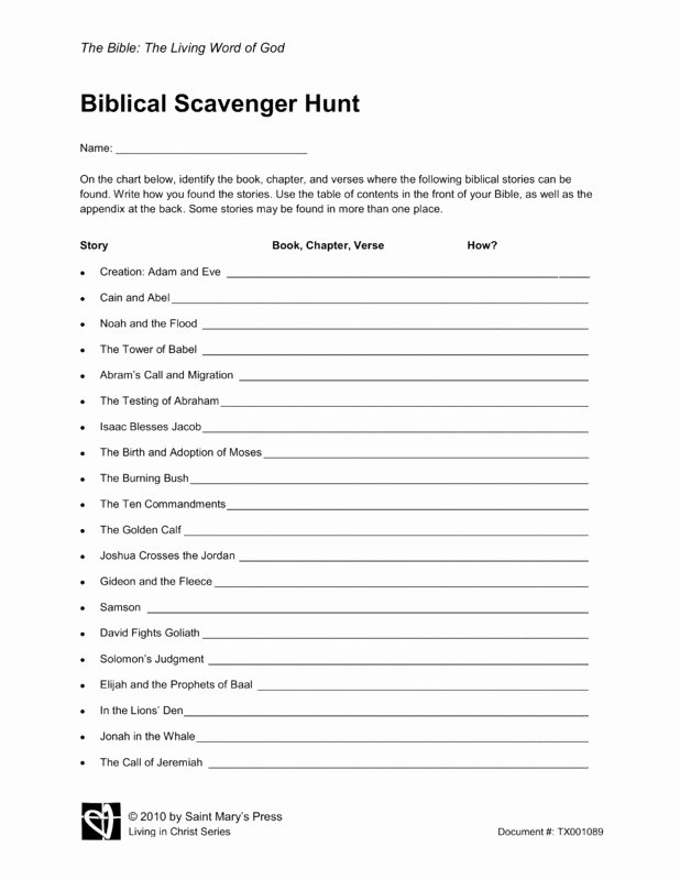 Bible Scavenger Hunt Worksheet Beautiful Biblical Scavenger Hunt