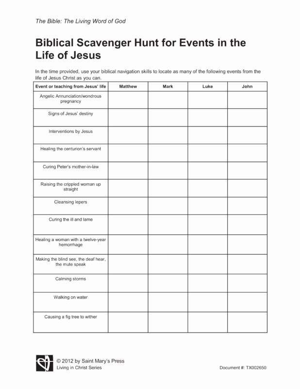 Bible Scavenger Hunt Worksheet Elegant Biblical Scavenger Hunt for events In the Life Of Jesus