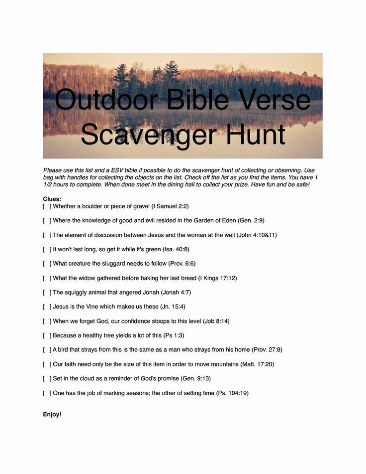 Bible Scavenger Hunt Worksheet Luxury Family Camp Scavenger Hunt 1 Pdf Vanessa Beckett Has
