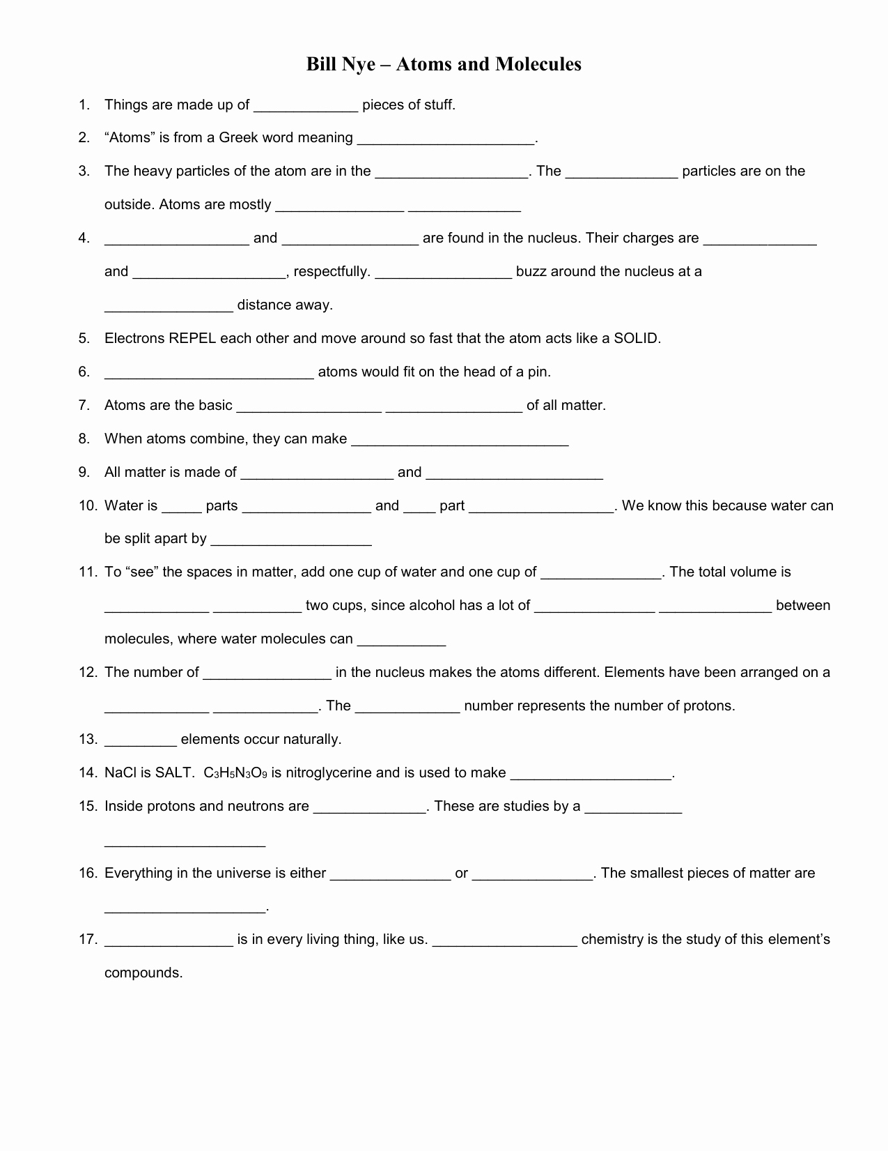 Bill Nye atoms Worksheet Luxury Bill Nye – atoms and Molecules Video Worksheet