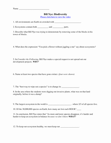 Bill Nye Biodiversity Worksheet Answers Lovely Bill Nye Video Worksheets Plete 20 Video Worksheet