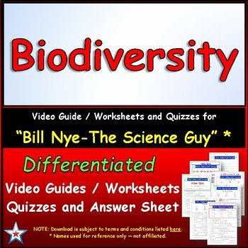 Bill Nye Biodiversity Worksheet Answers Lovely Differentiated Video Worksheet Quiz & Ans for Bill Nye