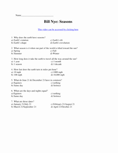 Bill Nye Biodiversity Worksheet Answers Unique Bill Nye Seasonscx