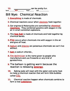 Bill Nye Chemical Reactions Worksheet Beautiful Bill Nye Chemical Reactions Guide Sheet by Jjms