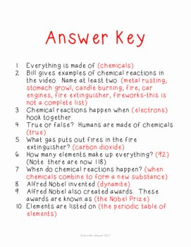 Bill Nye Chemical Reactions Worksheet Beautiful Bill Nye Chemical Reactions Movie Guide by Endeavors In