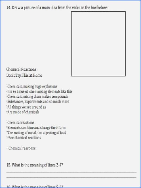 Bill Nye Chemical Reactions Worksheet Fresh Bill Nye Chemical Reactions Worksheet