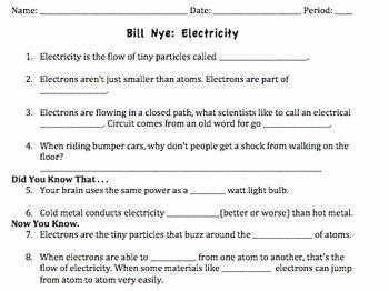 Bill Nye Electricity Worksheet Elegant Bill Nye Electricity Video Worksheet by Mayberry In