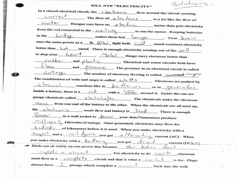 Bill Nye Electricity Worksheet Lovely Bill Nye Electricity Worksheet Free Printable Worksheets