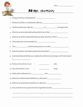 Bill Nye Electricity Worksheet Lovely Electricity Bill Nye Video Worksheet by Creative Science