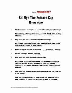 Bill Nye Energy Worksheet Answers Beautiful Differentiated Video Worksheet Quiz & Ans for Bill Nye
