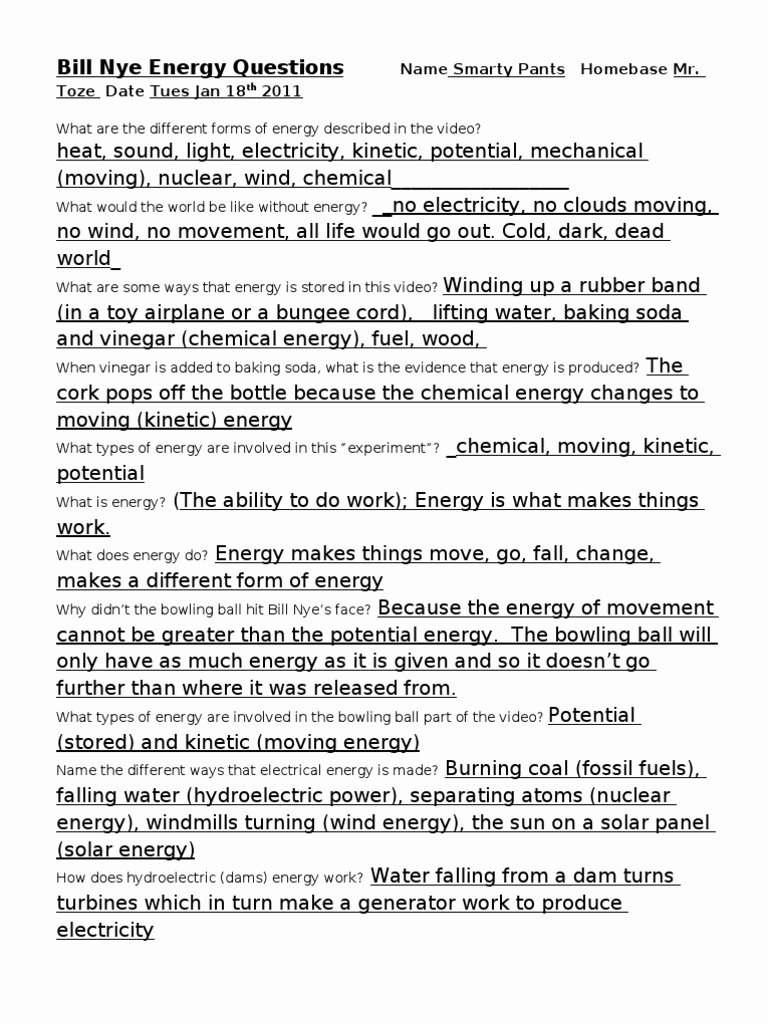 Bill Nye Energy Worksheet Answers Best Of Worksheet Bill Nye Electricity Worksheet Grass Fedjp